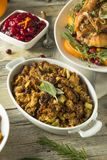 Homemade Organic Thanksgiving Stuffing. With Sage Herbs Royalty Free Stock Photo