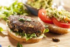 Homemade Organic Vegetarian Mushroom Burger Stock Image