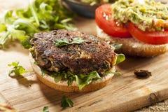 Homemade Organic Vegetarian Mushroom Burger stock photo