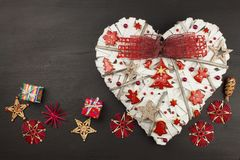 Homemade ornaments on a Christmas tree. Christmas heart decoration. Royalty Free Stock Image