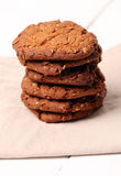 Homemade outmeal brown cookies on a table Royalty Free Stock Images