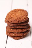 Homemade outmeal brown cookies on a table Stock Photography