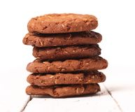Homemade outmeal brown cookies on a table Royalty Free Stock Photo