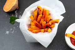 Oven Baked Sweet Potato Fries royalty free stock photo