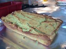 Homemade paleo avocado bread. On aluminium Royalty Free Stock Photos