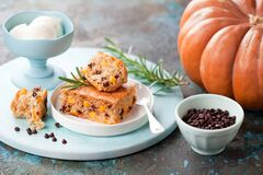 Homemade Paleo Cassava Flour Slice Cake With Pumpkin And Chocolate Chips Royalty Free Stock Photography