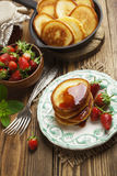 Homemade pancake with strawberry jam Stock Photo