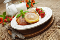 Homemade pancake with sugar powder Royalty Free Stock Photography