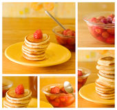 Homemade pancakes. Collage of strawberry and pancakes stock image