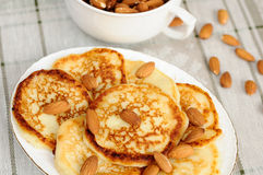 Homemade pancakes with almonds Royalty Free Stock Images