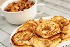 Homemade pancakes with almonds Royalty Free Stock Photography