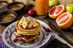 Homemade pancakes with bananas Royalty Free Stock Photography