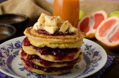 Homemade pancakes with bananas Stock Photo