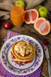 Homemade pancakes with bananas Royalty Free Stock Photos