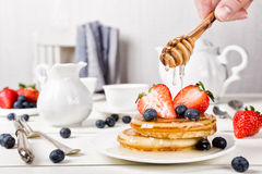 Homemade pancakes with berries. Royalty Free Stock Photo