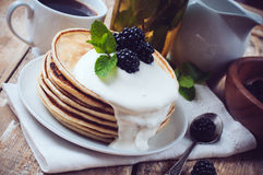Homemade pancakes with blackberries Stock Images