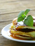 Homemade pancakes with  caramel syrup Royalty Free Stock Photo