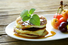 Homemade pancakes with  caramel syrup Stock Images