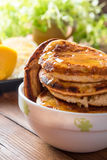Homemade Pancakes with Cherry Cinnamon and Honey for a Breakfast Royalty Free Stock Images