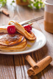 Homemade Pancakes with Cherry Cinnamon and Honey for a Breakfast Royalty Free Stock Photos