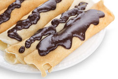 Homemade pancakes with chocolate close up. Stock Photos