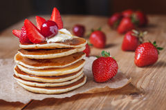 Homemade pancakes delicious breakfast or lunch Stock Photos
