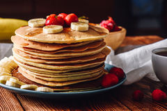 Homemade Pancakes with Fruits. stock photo