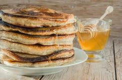 Homemade pancakes with honey Royalty Free Stock Photo
