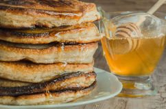 Homemade pancakes with honey Royalty Free Stock Photography