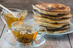 Homemade pancakes with honey Royalty Free Stock Photos