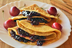Homemade Pancakes With Jam And Fresh Cherries Stock Images