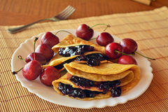 Homemade Pancakes With Jam And Fresh Cherries Stock Photos