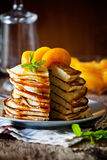 Homemade Pancakes With Peaches Stock Image