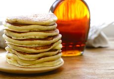 Homemade pancakes pile on a plate Stock Photo
