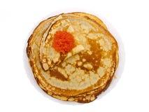 Homemade pancakes pile with salmon red caviar Stock Image