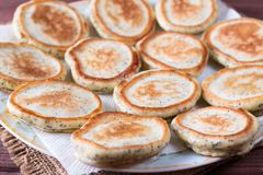 Homemade pancakes with poppy seeds for tasty healthy breakfast royalty free stock photos