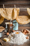 Homemade pancakes production country Royalty Free Stock Photography