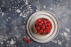 Homemade pancakes with raspberries on a gray plate, dark backgro. Vegan pancakes with raspberries and chia seeds on a gray plate, dark background, top view Royalty Free Stock Photography