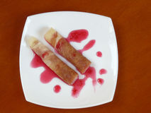 homemade pancakes with raspberry jam Stock Photo