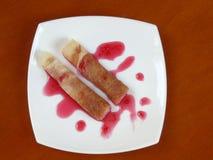 homemade pancakes with raspberry jam Stock Photo