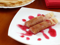Homemade pancakes with raspberry jam Royalty Free Stock Image