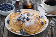 Homemade Pancakes With Blueberries And Powdered Sugar Stock Image
