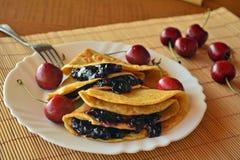 Homemade Pancakes With Jam And Fresh Cherries Stock Photos