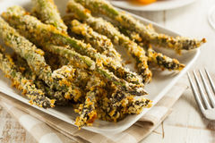 Homemade Panko Breaded Asparagus royalty free stock images