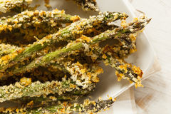 Homemade Panko Breaded Asparagus Stock Photos