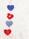 Homemade paper hearts garland.Valentine's day texture, background. Stock Photos