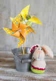 Homemade paper pinwheel and the Easter Bunny Stock Photos