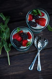 Homemade parfait with fresh berries and cream. In vintage glass Royalty Free Stock Image
