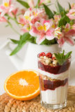 Homemade parfait serverd in high glasses with yogurt and organic raspberries, nuts and mint. Delicious snack for healthy. Life.  Breakfast on a straw tablemat Stock Photography