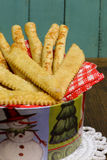 Homemade Parmesan Cheese breadsticks and salted Grissini Royalty Free Stock Images